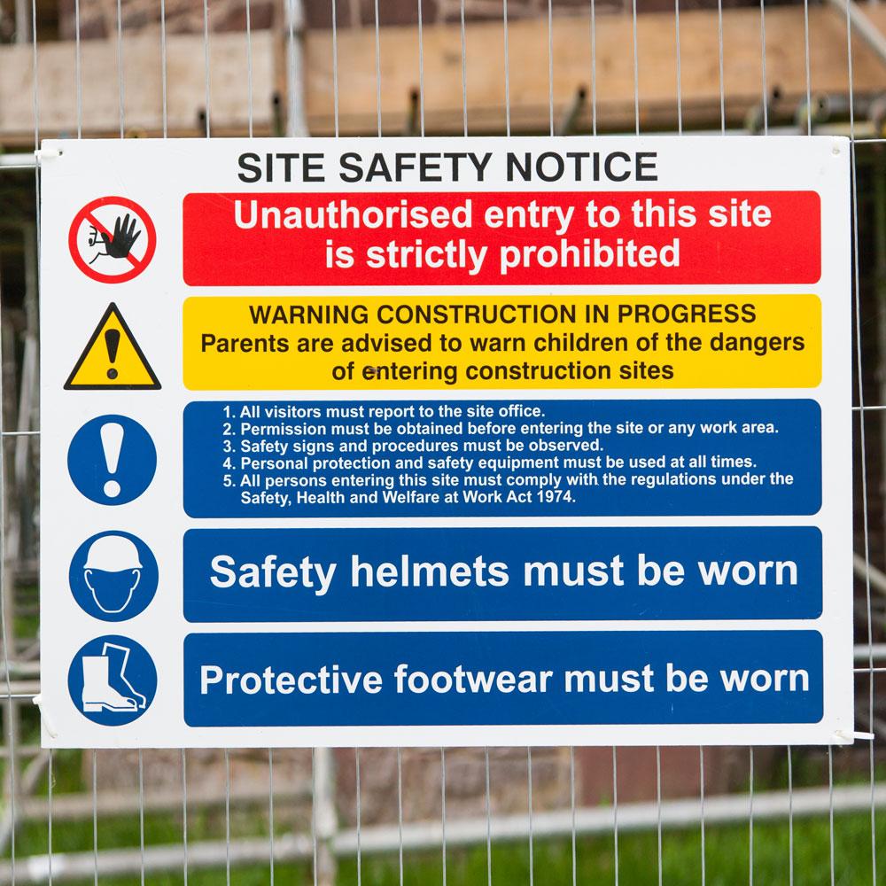 Correx site safety signage